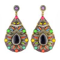 2014 Bohemia Style Chunky Ceramic 4 Popular Color Big Water Drop Earrings