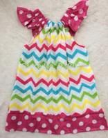 rainbow chevron hot pink polka dot pillow dress