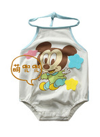 free shipping 2014 high quality Baby tie triangle jumpsuits neonatal Cartoon summer clothes NO BB4