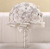 2014 Fashion 100% handmade white rose ribbon Luxurious wedding bouquet  bride bouquet wedding accessories