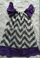 Gray chevron purple polka dot baby girl pillow dress