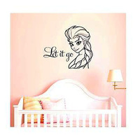 Free Shipping Personalised Frozen Wall Decal With Name Wall Decal Frozen Poster Cartoon Wall Sticker For Girls Size 50X70cm