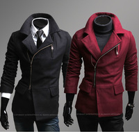 2014 Autumn Winter Men Tweed Irregular Trench Turn Doen Collar Zipper Up Man's Jacket Coat