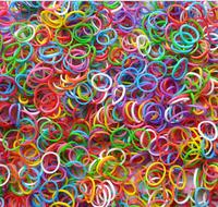 50pack/lot Fluorescent rainbow-color rubber band bracelet braided accessories 600pcs bands with crochet hook TT0023