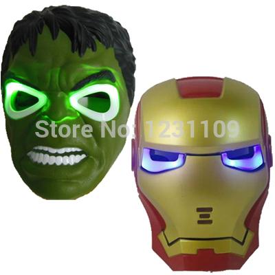 2pcs super heroes Movie Model Blue LED Light Eyes Mask Hulk Iron Man PVC Action Figures toys(China (Mainland))