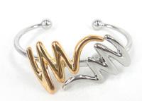 Free shipping wholesale high quality silver & gold W letter cuff bracelets Jewelry dress Bracelet Bangle for Women love bracelet