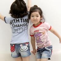2014 Girls Kids Boys Short Jeans Denim pants Frog shorts