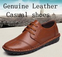 2014 new men's genuine leather casual shoes, handmade, flat with comfortable driving shoes free shipping