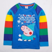 FREE SHIPPING A4553# 18m/6y 5pieces /lot lovely peppa pig embroidery spring autumn long sleeve T-shirt for baby boys
