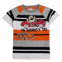 2014 hot selling nova kids wear children clothing with striped and print monkey carton short cotton t shirt for baby boys C1713#