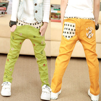 2014 Autumn Baby Children Pants Boys Rudder Printed Stretch Leisure Trousers Long Pants Kids Clothing 5 PCS