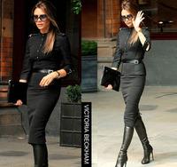 Fall Free shipping High-end Vintage stand collar Slim Ladies Back Zipper Half Sleeve Mid-calf Elegant Pencil Dress