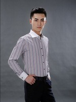 2014 Free Shipping Hot Sale Turn-down Collar Long Sleeve Men Colorful Thin Stripe Shirt Black 38/39/40/41/42/43