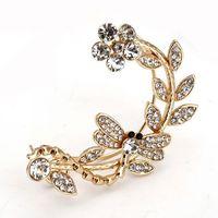 Fashion punk style women earrings Alloy cuff earring women ear clip crystal earrings