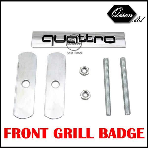 50 X QUATTRO BLACK Metal 3D Car Front Hood Grill Badge Grille Emblem Logo stickers for A1 A3 A4 A5 A6 A7 A8 Q3 Q5 Q7 TT #SO093(China (Mainland))