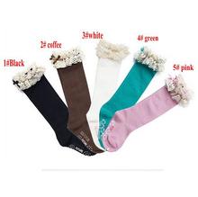Caliente venta 5 par/lote nuevo bebé de la muchacha al por menor calcetines kids classic BOOT rodilla altos calcetines con cordón de algodón de color sólido erbaby(China (Mainland))