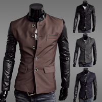 2014 Autumn Men Slim Fit Patchwork Blazer Men Single Breasted Casual Business Suit  M L XL XXL