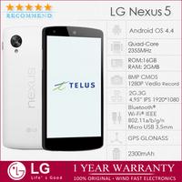 Original LG Nexus 5 Unlocked Quad-core Android mobile phone WIFI GPS 4.95'' 1920*1080 8MP 16GB Refurbished  Cellphone