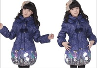 New jacket for girls winter kids parka medium-long duck down jacket girl child down coat 2014 size 140-160 coats for children