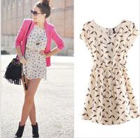 Free Shipping summer dress 2014 HOT SALE Women Spring Summer New Fashion Animal Bird Print Vintage Mini Dress, Plus Size S-XXXL