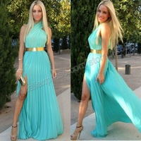 Turquoise Chiffon With Gold Belt Prom Dress 2014 New Arrival Free Shipping Halter With Sexy Slit Party Gown