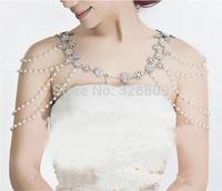 2pcs/set Crystal  shoulder chain necklace set Bridal necklace shoulder decorated dual-use Bridal necklace