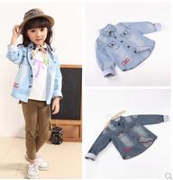 2014  Girls Boys 99% Cotton Denim Shirt NWT Children Western Denim Shirt Blue