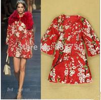 Free shipping 2014 Autumn & winter woman print Cotton coat three-dimensional coat blue red creamy white