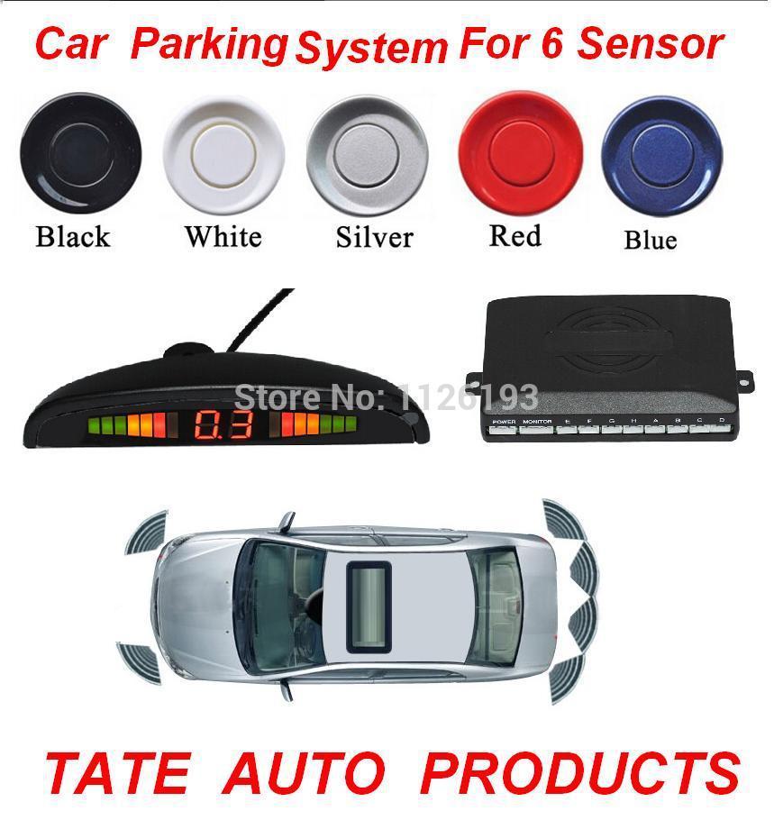 Car Parking System 12V LED Display Indicator Sound Alarm Reversing 6 Sensors 8 colors(China (Mainland))