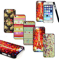 New 1XNew Painted Various Pattern Hard Back Skin Case Cover for IPhone 5 5G 5S Tonsee