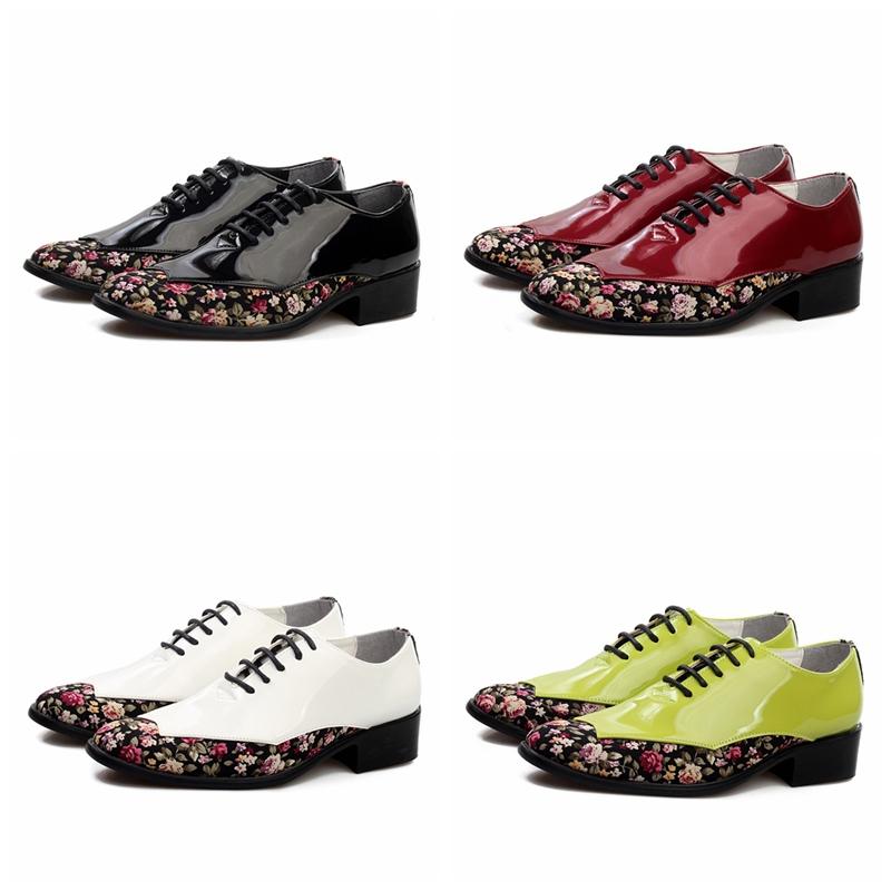 heißer verkauf lackierte leder mode männer hochzeit Schuhe haben blumenmuster vamp hochwertige oxfords schuhe für den menschen farben grün Wein