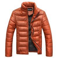 Men's Winter 2014 New Fashion Stand Collar Long Sleeve Lattice Windproof Bodycon Parkas.