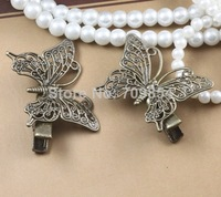 36*25mm butterfly filigree hair clip bobby pin antique bronze plated---100pcs/lot