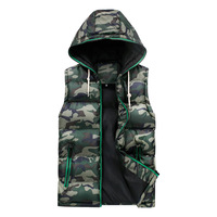 Men's Autumn and Winter 2014 New Fashion Hooded Sleeveless Windproof Camouflage and Pure Bodycon Vests.