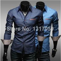 Foreign trade especially designed for the new winter gilded leather men washing men burst models long-sleeved denim shirt