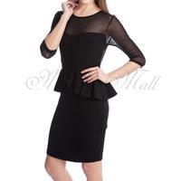 Women Pencil Dress Half Sleeve Backless Slim Fit Fashion US S M L