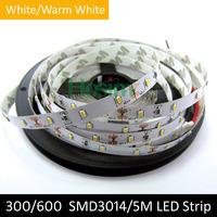 LED Strip SMD 3014 White/Warm White DC 12V 120leds/m 600LEDs 5M Super Bright Light