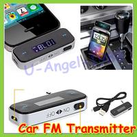 Free shipping!! hot sale Wireless 3.5mm Handsfree Car Kit Music Radio MP3 FM Transmitter For iPod iPad iPhone 4 4S 5 Galaxy HTC