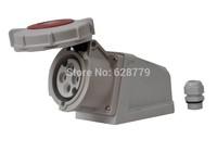 waterproof industrial plug ,socket E-1242B 4PIN 32A wall socket IP67