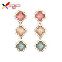 2014 new arrival dress accessories fashion elegant golden pink lucky leaf drop earrings for women brincos bijoux wholesale