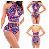 2014 M L plus size bandage dress Good quality Floral Print Swimwear Top and Brazilian Bottom Bikini Set Sexy Swimsuit YI7028