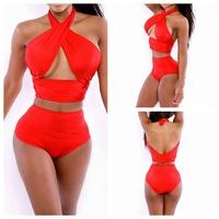 Women's Fashion Triangle Swimwear  Biquini 2014 Sexy Bandage Swimsuit Red Bikinis Push Up Swimsuit Set Vintage Bikini Set YI7047