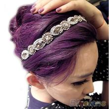 Fashion Retro Style Women HairBand  Crystal Rhinestone Gray Beads Headband Hair Band  06AM(China (Mainland))