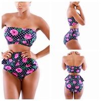 New 2014 Women Ladies Girl Floral Print Brazilian Bikini Set Swimwear Swimsuit Bathing Suit Monokini Triangl  YI7031