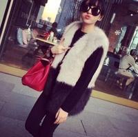 new women's spring winter 2014 models in the long section fur coat women fur vest wool vest fake fox fur vest casacos femininos