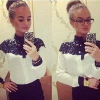 2014 New Style Women Lace Patchwork Blouse Shirts Cape-style Chiffon Casual Shirt Stitching Lady Clothing Lace Blusas Tops