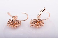 Gift Classic Genuine Austrian Crystals Fashion Full Copper plating 18K champagne gold Earrings  Stud Earrings Hot Sale For Party