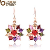 fashion Earrings Colorful Crystals FashionCopper plating 18K champagne gold AAA color zirconia Earrings Hot Sale For Party