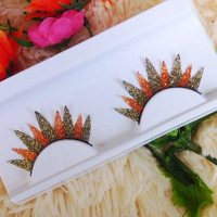 1 pair/pack Red brown metallic glitter false eyelashes.girl eyelashes accessory .18.18813.Free shipping