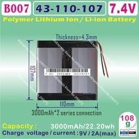 [L177] 7.4V,6000mAH,[43107110] PLIB (polymer lithium ion battery) Li-ion battery  for tablet pc,power bank,cell phone,speaker